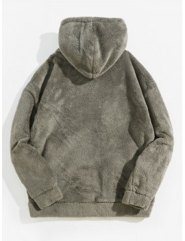 Casual Long Sleeves Zip Up Hooded Jacket - Ash Gray L
