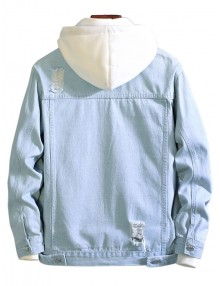 Casual Destroy Wash Ripped Denim Jacket - Light Blue M