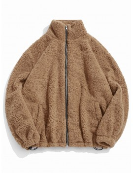 Faux Fur Solid Toggle Drawstring Fuzzy Jacket - Camel Brown L