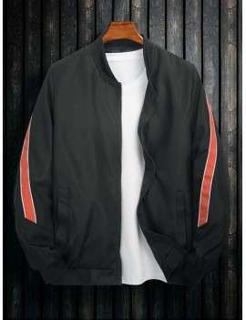Color Spliced Pocket Design Zip Up Jacket - Black Xl
