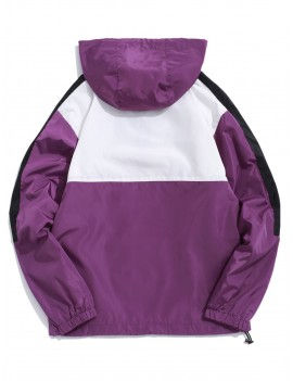 Color Block Splicing Pullover Hooded Jacket - Purple Flower L