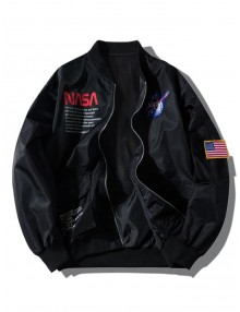 Letter Graphic Embroidery American Flag Applique Pocket Jacket - Black M