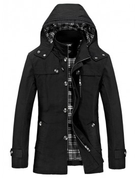 Buttons Zip Hooded Trench Coat - Black L
