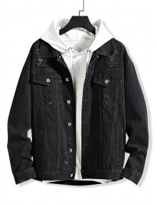 Solid Color Ripped Decorated Denim Jacket - Black Xl
