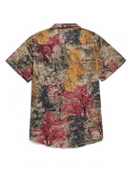 Chinese Colorful Ink Painting Print Button Shirt - Cherry Red M