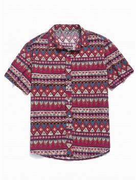 Contrast Geometric Shirt - Rose Red L