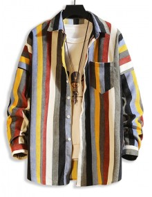 Colorful Striped Pockets Drop Shoulder Corduroy Shirt - Multi-b S