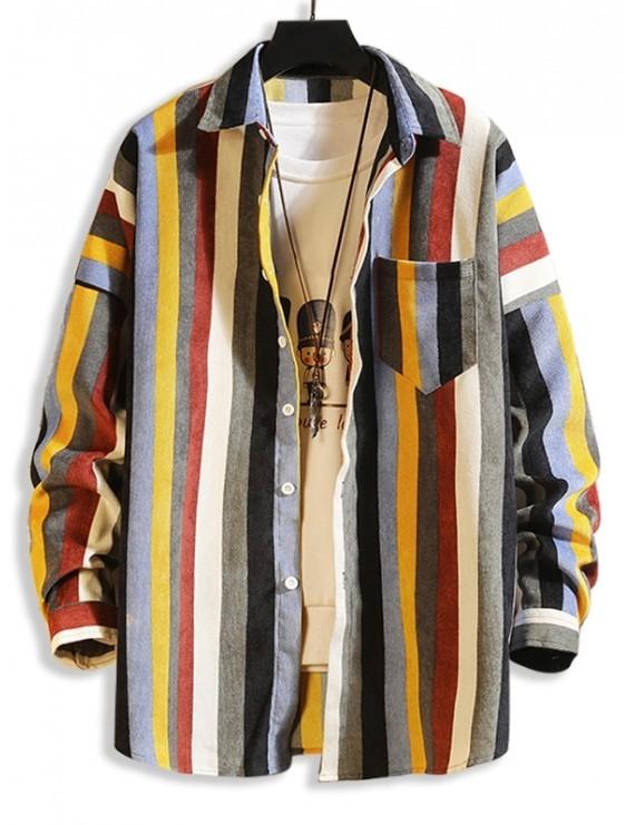 Colorful Striped Pockets Drop Shoulder Corduroy Shirt - Multi-b S