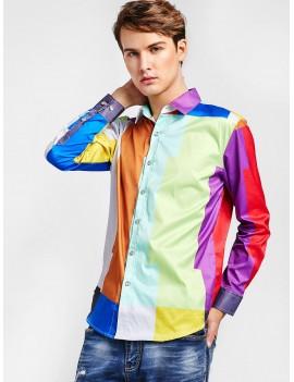 Color Block Button Up Shirt - Multi S