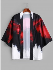 Rising Moon Through Tree Forest Print Open Front Kimono Cardigan - Red Wine S