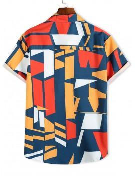 Color Blocking Geometric Print Button Up Vacation Shirt - Multi M