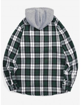 Checked Print Pockets Button Up Hooded Shirt - Green Xl