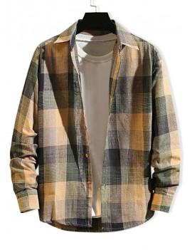 Checkered Print Long Sleeve Button Slim Fit Shirt - Multi-b Xl