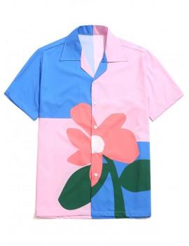 Color Block Flower Print Button Shirt - Multi-b L