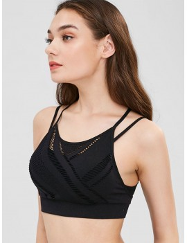 Seamless Gym Perforated Sports Bra - Black S