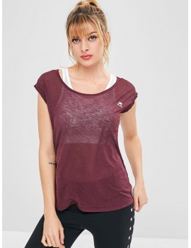 Cap Sleeve Sport T-shirt - Maroon Xl