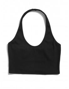 Backless Halter Knit Crop Top - Black S