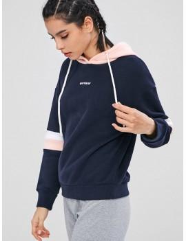 Color Block Fleece Drawstring Hoodie - Multi S