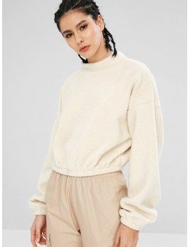 Casual Drop Shoulder Fluffy Sweatshirt - Warm White S