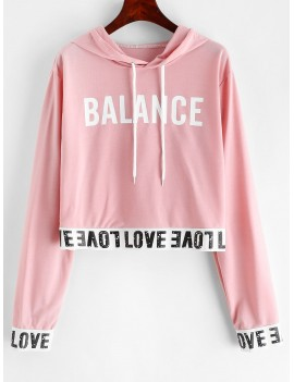 Balance Graphic Pullover Stretchy Hem Hoodie - Deep Peach S