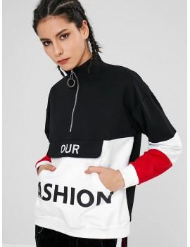 Color Block Pouch Graphic Sports Sweatshirt - Black L