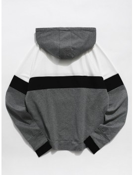 Color Block Perforated Pocket Gym Hoodie - Multi L