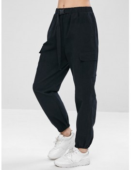 Drawstring Pocket Jogger Pants - Black S