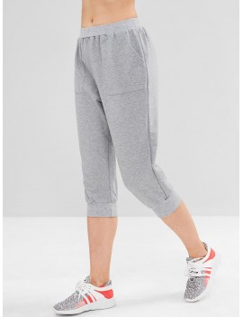 Heather Pocket Crop Jogger Pants - Gray Cloud M