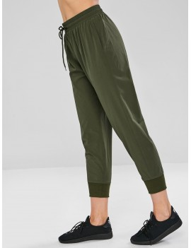 Drawstring Pocket Sport Pants - Army Green S
