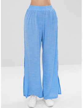 Slit Wide Leg Sports Pants - Butterfly Blue S