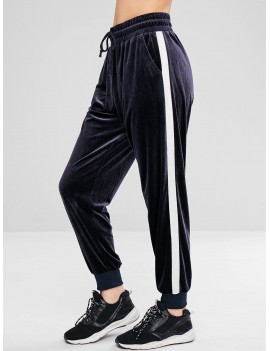 Color Block Velvet Jogger Pants - Blue Gray M