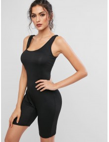 Elastic Scoop Neck Unitard Tank Biker Romper - Black M