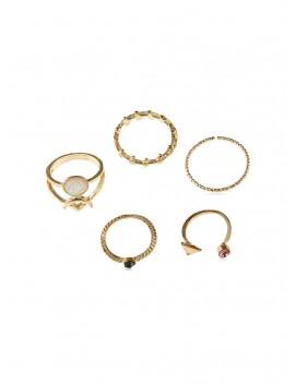 5Pcs Leaf Triangle Ring Set - Gold