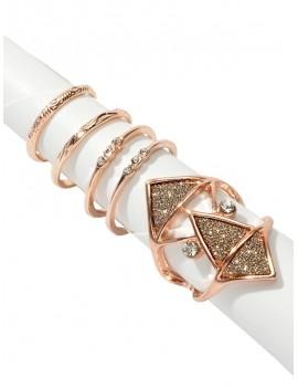 5 Piece Glitter Geometric Rhinestone Finger Ring Set - Gold