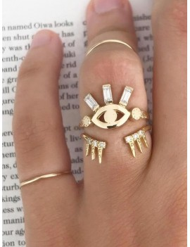 2Pcs Eye Crown Shape Ring Set - Gold