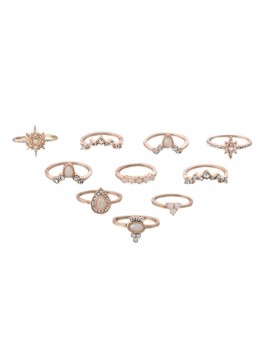 10Pcs Rhinestone Geometric Ring Set - Gold