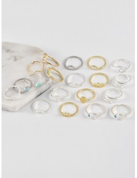 19Pcs Brief Arrow Wave Ring Set - Multi-a