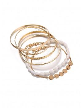 5 Piece Simple Shell Disc Chain Bracelet Set - Gold