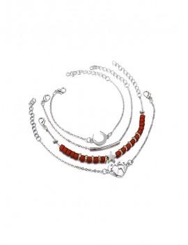 4 Piece Wooden Beaded Moon Heart Map Bracelet Set - Multi-a