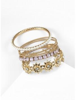5 Piece Faux Pearl Rhinestone Floral Bangle Set - Gold