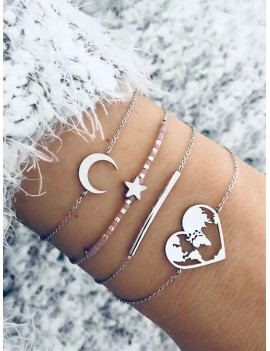 4Pcs Moon Star Heart Bracelet Set - Silver