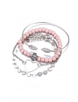 4 Piece Heart Disc Beaded Chain Bracelet Set - Silver