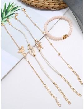 5Pcs Bowknot Pineapple Flamingo Bracelet Set - Gold