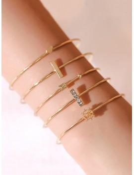 5Pcs Arrow Heart Cuff Bracelet Set - Gold