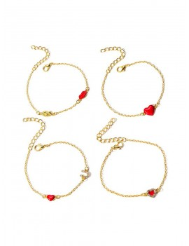 4Pcs Heart Lip Rhinestone Bracelet Set - Gold