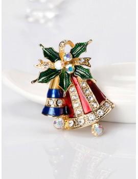 Christmas Bell Rhinestone Brooch - Gold