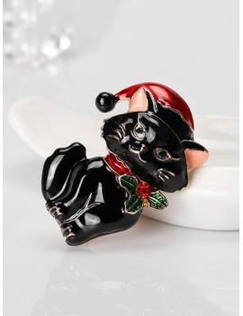 Christmas Cat Rhinestone Brooch - Black
