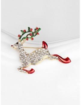 Christmas Deer Rhinestone Brooch - Gold