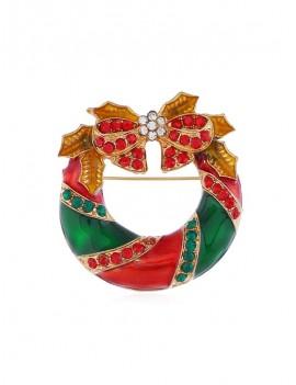 Christmas Bowknot Garland Brooch - Gold