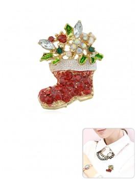 Christmas Boot Rhinestone Brooch - Lava Red